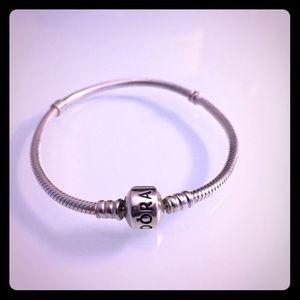 Pandora silver charm bracelet 7inch (no charms)
